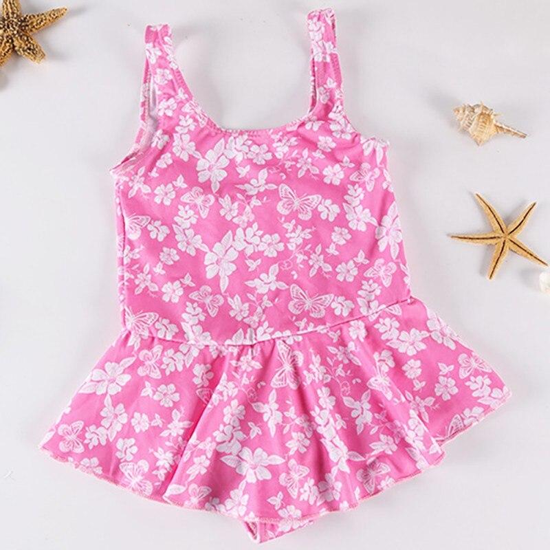 Girls Swimwear 1~9Years Kids Beach Wear Lovely Swimming Suits Bikini One Piece Swimsuit Floral Print Swimwear Random Color