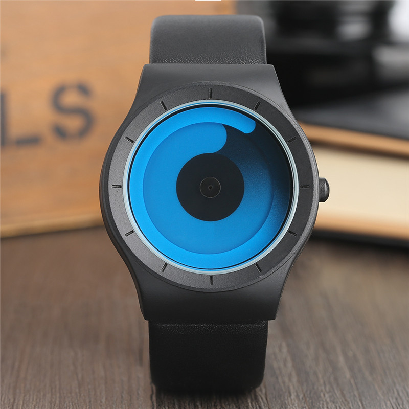 Новая концепция часы минималистский Стиль Прохладный Цвет спираль проигрыватели Роман стильные наручные часы Geek Вентиляторы подарки мужс...