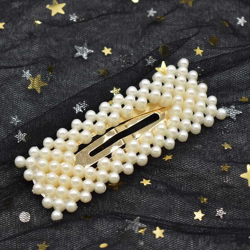 แฟชั่น handmade Gold 1PC ไข่มุกผมเลียนแบบคลิป Snap Barrette Hairpin Hairpin ผมอุปกรณ์จัดแต่งทรงผมสำหรับผู้หญิงหญิง
