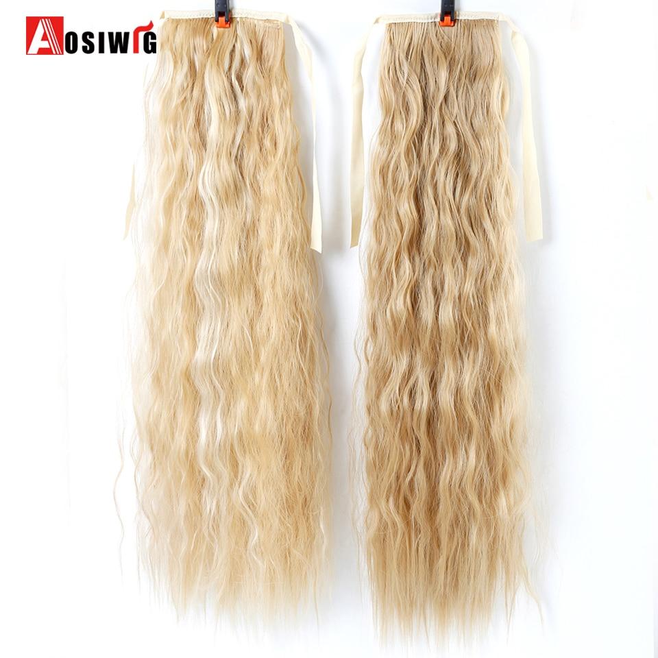 22 tum lång vågig hästsvans för svarta kvinnor vin röda hår - Syntetiskt hår - Foto 3
