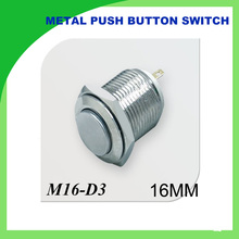 3PCS 16mm push button switch hight reset 36V nickel plated brass
