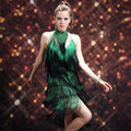 Lady Samba Dancing Suit Women Rumba Dance Uniform Latin Dance Fashion Clothing Fringed Dress Sexy Tassel Dancing Clothes B-4203