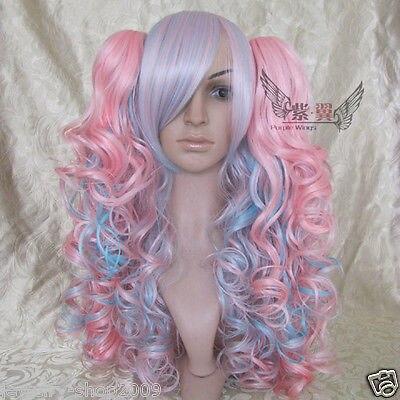 &Wholesale&>> Cosplay Lolita Pink Mixed Split Type Heat Resistant Wig