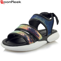 MoonMeek large size 34 46 fashion summer new shoes woman bling flats women casual comfortable sandals women flat with shoes 2019