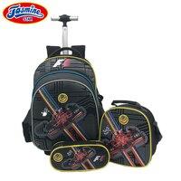 JASMINESTAR 3PCS Trolley School Bags Boy Cartoon Backpacks Kids Satchel Luggage Large Capacity Wheeled School Bags