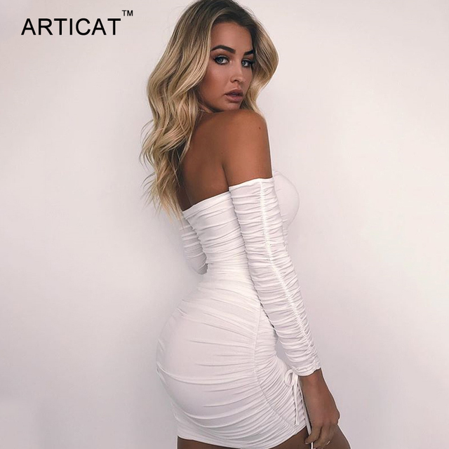 Articat Women Autumn Winter Bandage Dress Women 2020 Sexy Off Shoulder Long Sleeve Slim Elastic Bodycon Party Dresses Vestidos 2