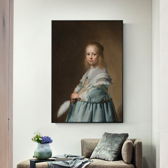 Portrait Of A Dressed In Blue Canvas Art Wall Paintings By Johannes Vermeer Dutch Golden Age Prints For Living Room