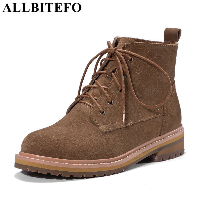 ALLBITEFO thick heel Nubuck leather round toe women boots fashion medium heel platform martin boots winter boots bota de neve winter 2014 british round solid leather thick follow with frosted leather ladies nubuck leather ankle boots