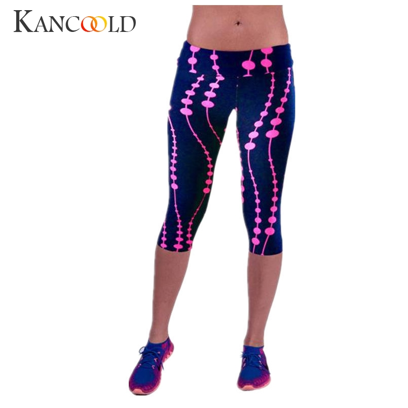 Durable 2017 Fashion women   Leggings   High Waist Fitness Pants Sweatpants Printed Stretch plus size Cropped   Leggings   Jan19