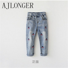 2016 Autumn hot sale kids jeans pants new style fashion girls 2-12 year children