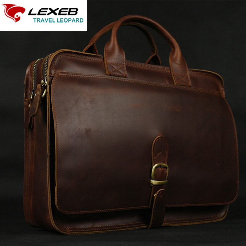 LEXEB Cow Leather Brown Briefcase Men's Laptop Bag 15 Inches Office Bags For Men Vintage Classic Lawyer Handbag Double Zips Open lexeb brand lawyer briefcase vintage crazy horse leather men laptop bag 15 inches high quality office bags 42cm length brown