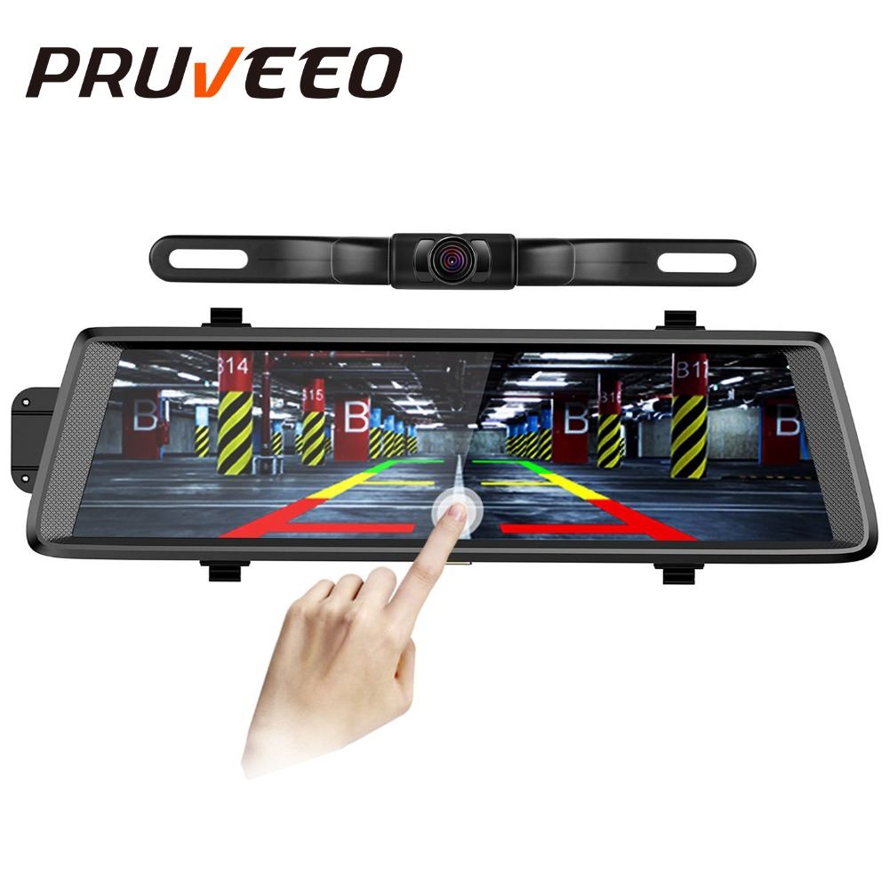 Pruveeo D700 Plus 10 Inch Touch Screen Backup Camera Dash Cam Front and Rear Dual Channel