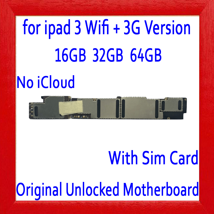 Original unlocked for ipad 3 Wifi+3G Version Motherboard,Free iCloud for ipad 3 Wifi+3G Version Mainboard,16GB 32GB 64GBOriginal unlocked for ipad 3 Wifi+3G Version Motherboard,Free iCloud for ipad 3 Wifi+3G Version Mainboard,16GB 32GB 64GB