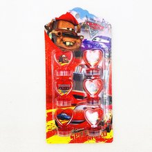 Birthday Party Supplies 6pcs/set Lightning Mcqueen Decoration Rubber Stamp Funny  For Kids Decor Cartoon Seal Stamper