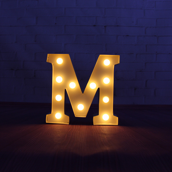 "Metal Letter Signs With Lights 9"" Beige Metal Letters Light Led Alphabet Marquee Sign Light Up"