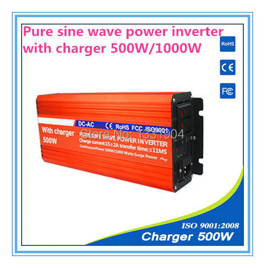 цена на 500w power inverter with charger 12VDC/100-120VAC AVR 500W inverter pure sine wave for home solar system and car inverter