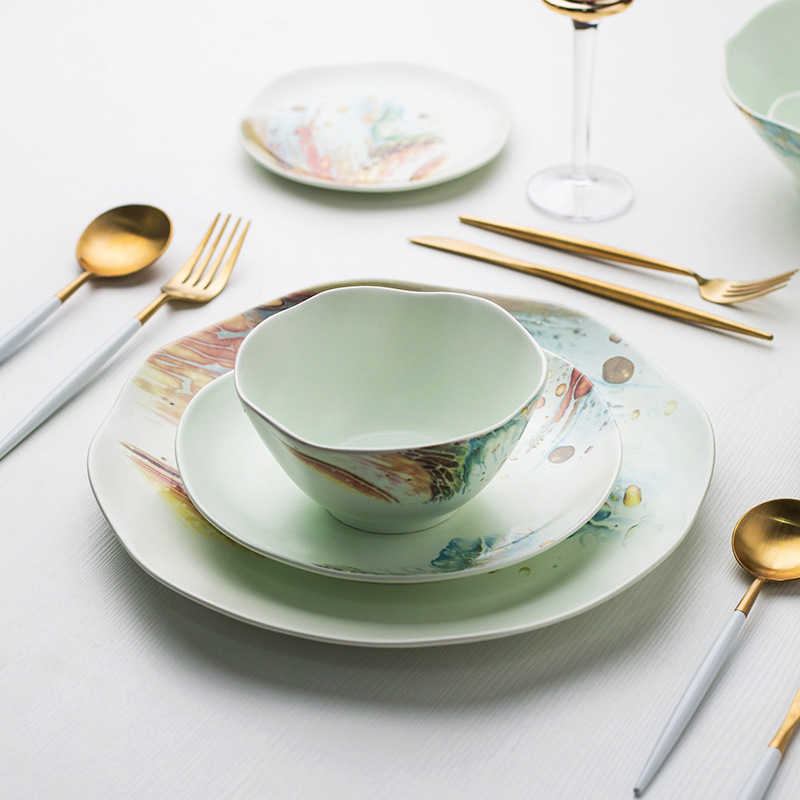Ceramic Dinnerware Set Marine Style Plate Rice Bowl Soup Spoon Noodle Container Irregular Tableware Food Bowl Dish Spoon Set