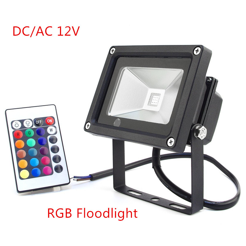 1pcs Reflector <font><b>Led</b></font> RGB Floodlights DC/AC12V 10W Flood Lighting IP65 Outdoor <font><b>Spotlights</b></font>+ Remote Controller Spot <font><b>Garden</b></font> image