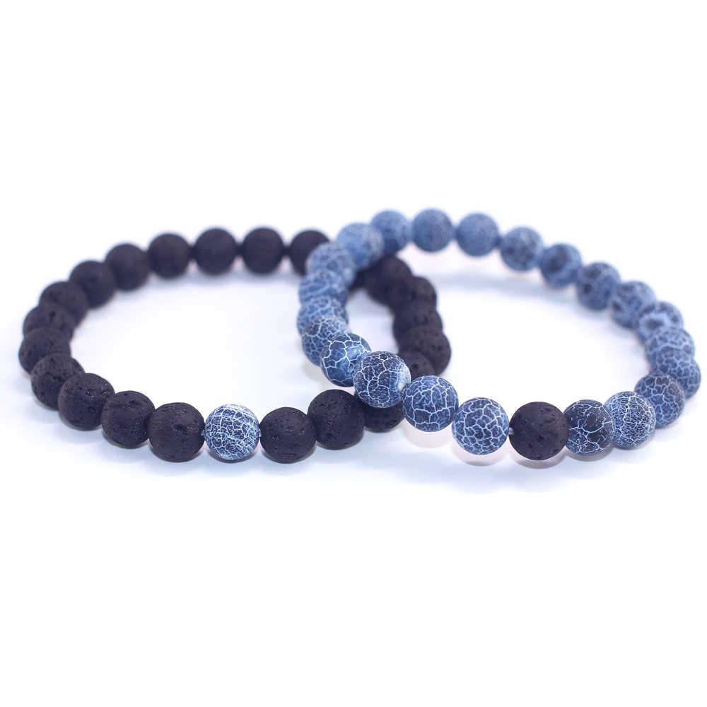 2019 2Pcs/Set Couples Jewelry Classic Distance Bracelet Bangle Men Black Lava Beaded Bracelets Matching Yin Yang Personality