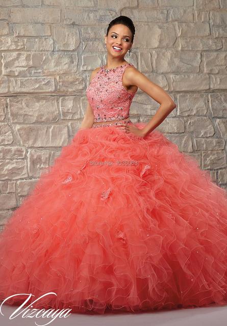 New Fashion 2016 Branco Coral Elegante Frisado Rendas de Duas Peças vestido de Baile Vestidos Quinceanera Sweet Girl 16 Vestido