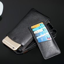 Natural Real Genuine Leather Wallet Pouch Case For iPhone 7 Plus 6 6S Cell Phone Luxury Strap Zipper Phone Purse Bag 6 Card Slot