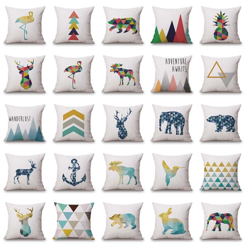 Nordic Style Deer Bear Geometric Cushion Covers Mountain Arrows Pillow Cases Linen Cotton pillow Covers Bedroom Sofa Decoration