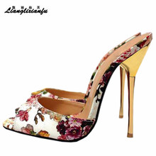 LLXF Slippers zapatos mujer US16 17 18 19 flipflop Bridal Stiletto 14cm Thin Heels Sandals Gold/Sliver shoes woman Classic Pumps