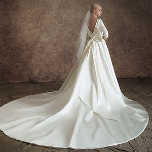 Image 3 - New A line Satin Modest Wedding Dresses With 3/4 Sleeves O Neck V Back Vintage Modest Bridal Gowns Wth Detachable Train