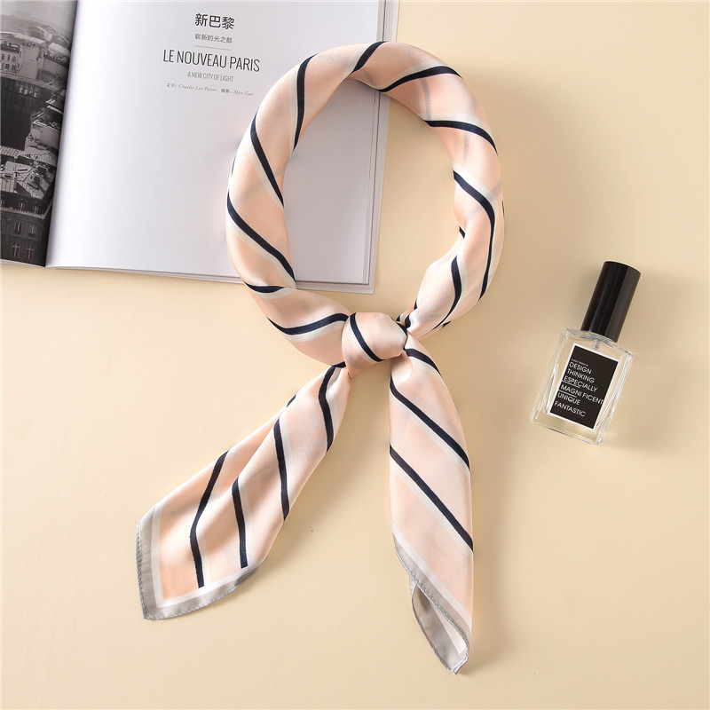 Fashion Women   Scarf   Luxury Brand Striped Pure Silk Shawl Scarfs Foulard Square Head   Scarves     Wraps   2017 NEW