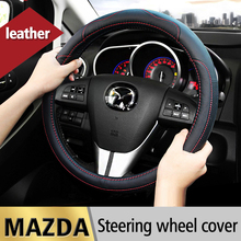 цена на Leather Car Steering Wheel Cover Case For Mazda 2 3 6 Axela Atenza Demio CX-3 CX-5 CX5 CX 5 CX-7 CX-9 2017 2018 2019 Accessories
