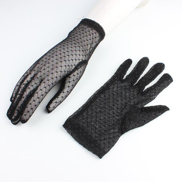 Sexy Lace Mesh Gloves Women Summer Black Anti UV Sunscreen Driving Gloves Lady Elegant Full Finger Glove Party Dance Mittens 4