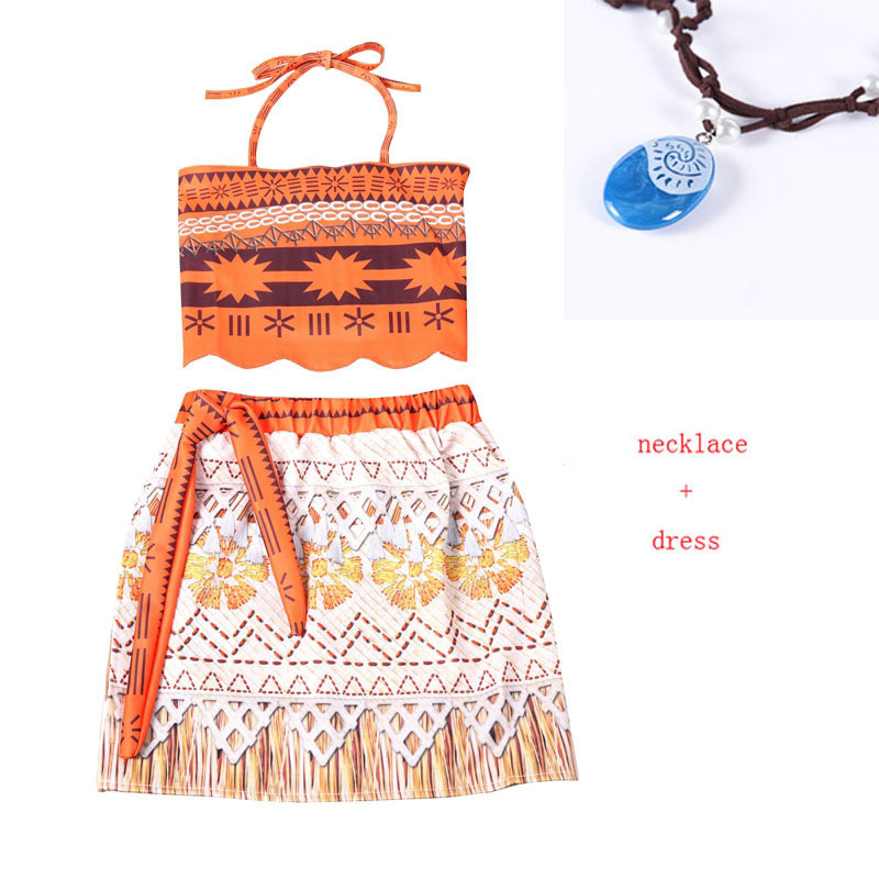 Baby girl clothes Princess dress Moana Cosplay Costume for Children Vaiana Girls Party Wedding dresses with Necklace Costumes sports style owl printed lace up narrow feet long pants for men