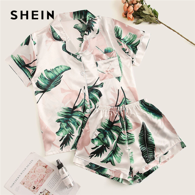 SHEIN Tropical Print Satin Pajama Set Casual Sleep Wear Shorts Sets Short Sleeve Pocket Women Summer Pajama Set 1
