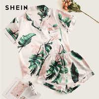Shein tropical impressão de cetim conjunto pijama casual sleep wear shorts conjuntos manga curta bolso feminino verão conjunto pijama