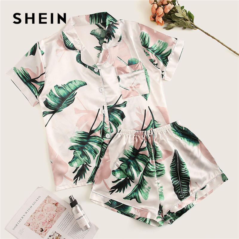 SHEIN Tropical Print Satin Pajama Set Casual Sleep Wear Shorts Sets Short Sleeve Pocket Women Summer Pajama Set