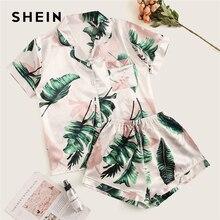 SHEIN Tropical Print Satin Pajama Set Casual Sleep Wear Shor
