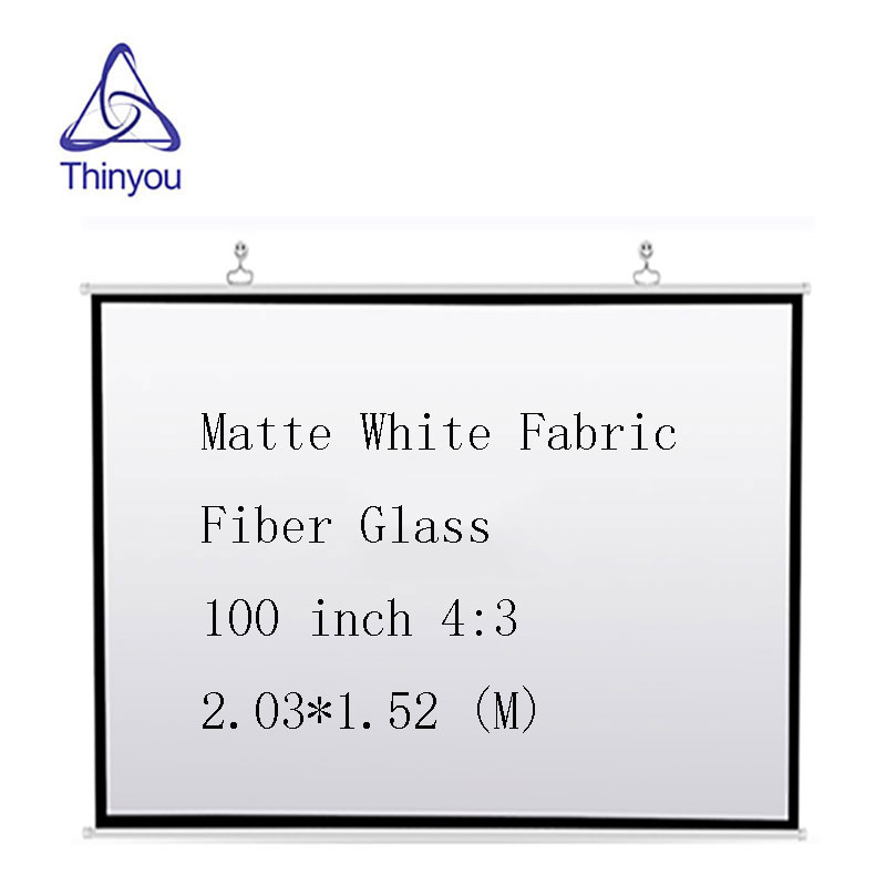 Thinyou 100 inch 4 3 font b projector b font screen Matte White Fabric Fiber Glass