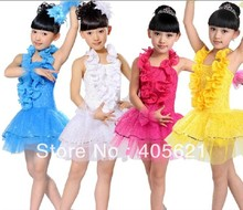 Girls pleated lace collar sequins veil skirt modern dance costumes children's performance clothing stage wear,  Free Shipping