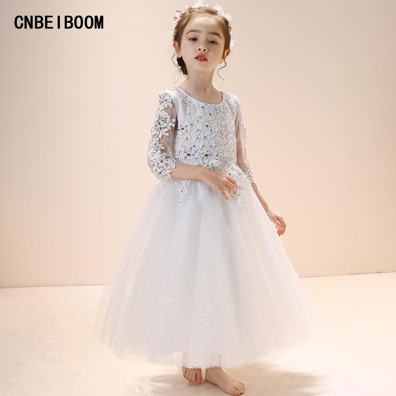 2018 New Hot White Ball Gown Appliques Flower Girl Dresses First Communion Dresses For Princess Girls Party Wedding vestidos 4pcs new for ball uff bes m18mg noc80b s04g