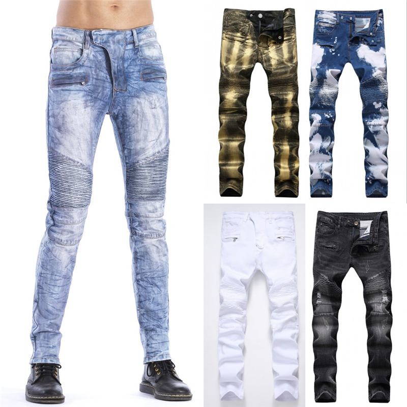 New 2018 Slim Biker Jeans Men High Stretched Hip Hop Holes Jeans with Zippers Pleated Slim Jean Mens Scratched Pants Trousers