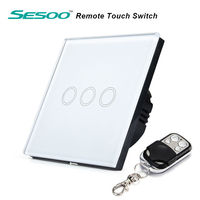 SESOO Y603 EU Standard 3 Gang 1 Way With Remote Control Switches Crystal Glass Panel Wireless