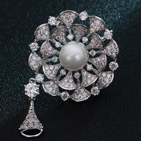 Very Nice AAA Cubic Zircon Flower Brooch For Wedding Bridal Jewelry Fashion Women Hijab Pins Scarf Pin Best pearl Accessory