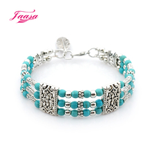 3 layer silver plated zinc alloy Natural stone bracelet Ms. bracelet many colors mix and match casual classic fashion style