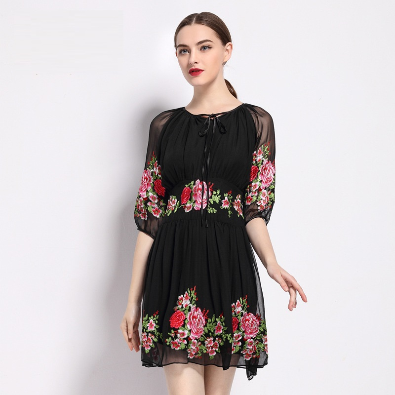 Women retro dress short 2018 NEW High quality Spring summer embroidery Clothing flowers Party Dress S