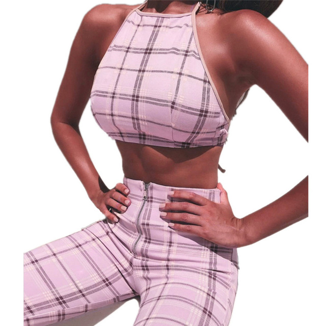 e34b88b36b9 2018 Pink Plaid Two Piece Set Women Sexy Sleeveless Halter Crop Top Camisole  Long Zipper Pants