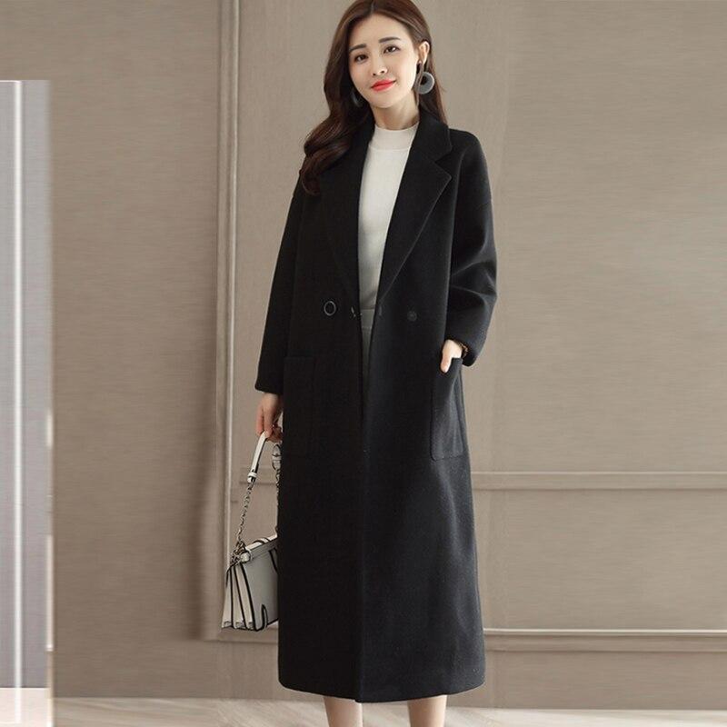 Winter Women Wool Coat Jacket Longer 2019 High Quality Korean Womens Woolen Coats Jackets Black/Khaki/Red
