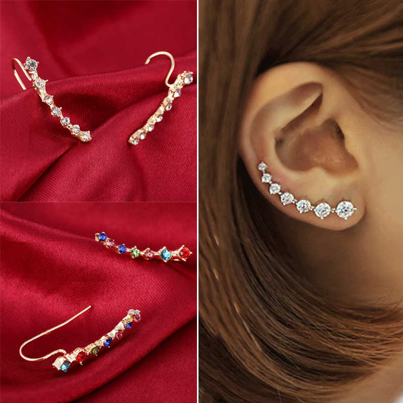 New Fashion Crystal Rhinestone Ear Cuff Wrap Stud Clip Earrings for Women Jewelry Accessories Gifts Long Ear Clip 8C1247