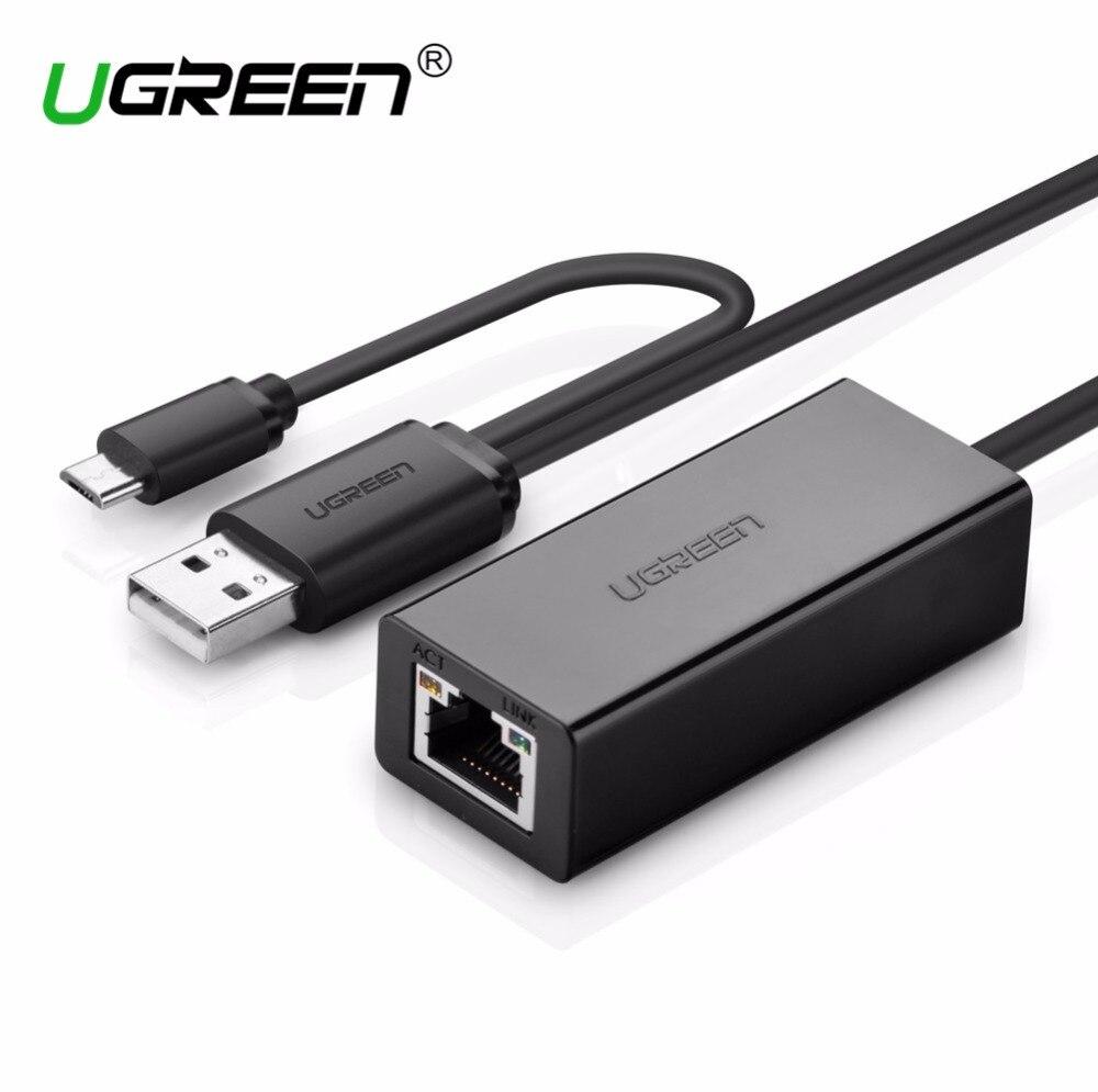 Adaptateur réseau Ugreen OTG Ethernet Micro USB 2.0 à RJ 45 10/100Mbps pour tablettes de commutation nintention téléphone Android OTG Ethernet