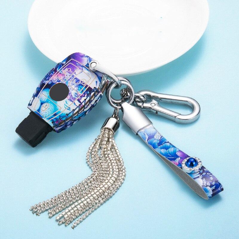 Car Key Cover Case For Mercedes Crystal Key Chain Key ring Benz W204 W205 W212 C E S GLA GLC GLK AMG colorful paint smart key