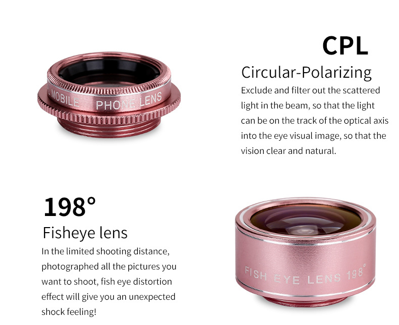 Cell Phone Camera Lens 4 in 1 Universal Professional Kit Fisheye Macro + Wide-angle + CPL Polarized Lens For iPhone Samsung 5